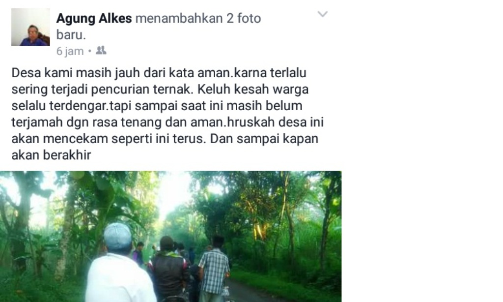 Maling Sapi Merajalela, Warga Ranuyoso Mengeluh di Facebook