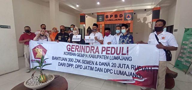 Partai Gerindra Beri Bantuan Ke 2 Korban Terdampak Gempa di Lumajang