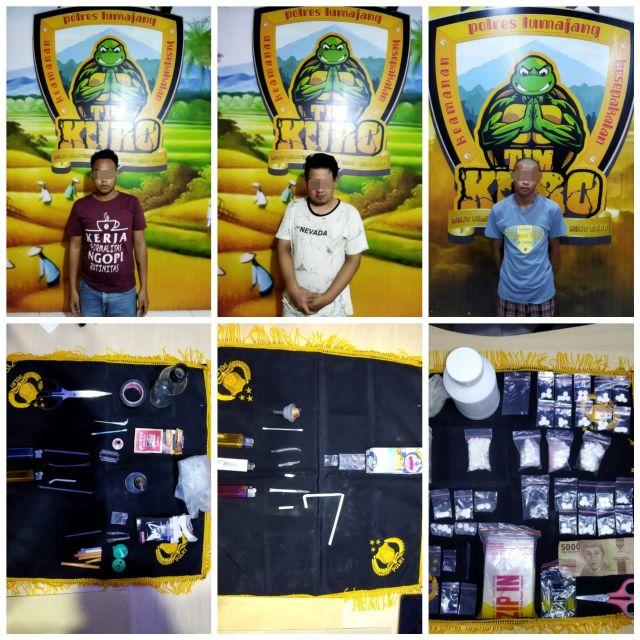 3 Orang Pengedar Sabu Serta Pil Koplo Diringkus Satresnarkoba Lumajang