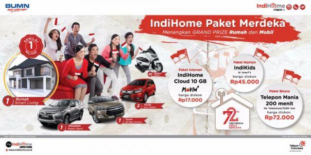 Ayoo...! Pasang IndiHome Paket Kemerdekaan, Dapatkan Hadiah Rumah dan Mobil
