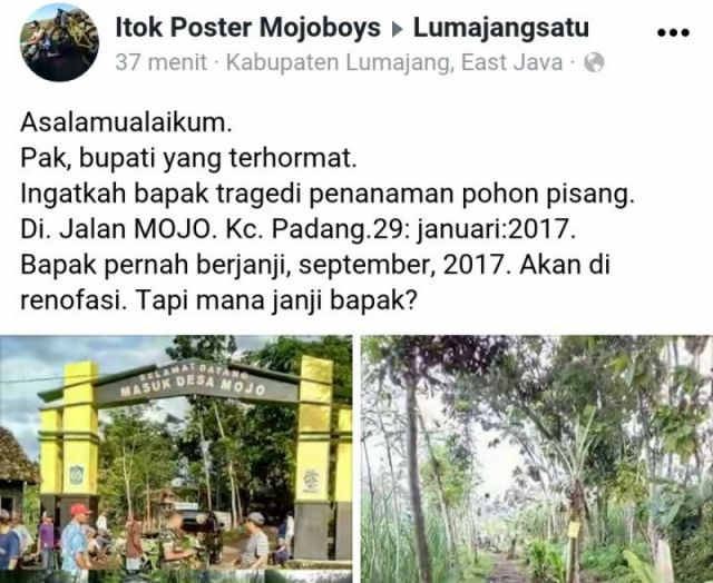 Bupati Sudah Anggarkan Perbaikan Jalan Desa Mojo, Tinggal Pelaksanaannya Saja