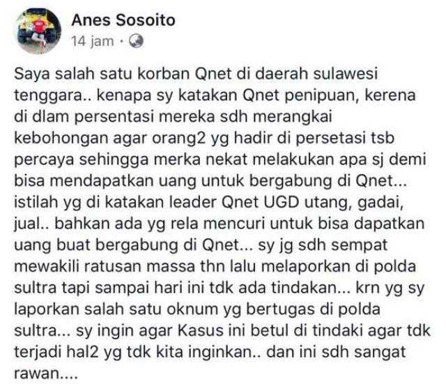 Warga Sulawesi Tenggara Menjerit Ditipu Qnet dan Mengadu ke Tim Cobra