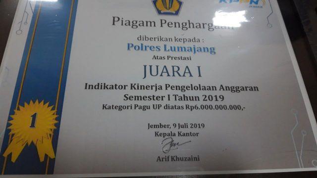 Polres Lumajang Sabet Juara 1 Pengelolaan Keuangan oleh KPPN Jember