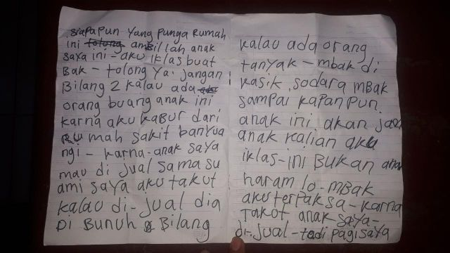 Inilah Isi Surat Pembuang Bayi Perempuan di Ranu Bedali - Ranuyoso