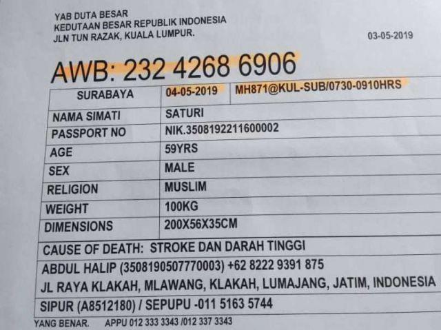 JenazahTKI Asal Klakah Meninggal di Malaysia Dipulangkan Besok