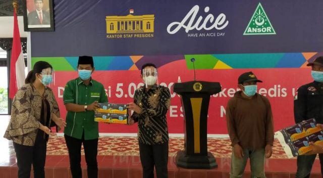 Aice dan Ansor Distribusikan 150 Ribu Masker Medis ke Warga Lumajang