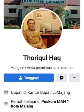 Hati-hati, Beredar Akun Facebook Palsu Bupati Lumajang Thoriqul Haq