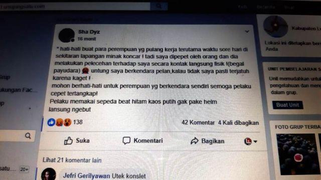 Viral Cewek Padang Jadi Korban Begal Payudara di Kutorenon Lumajang