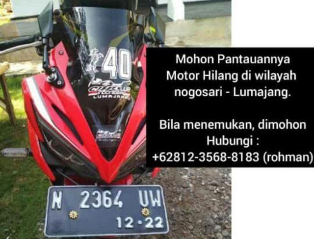 Honda CBR 150 Milik Warga Rowokangkung Lumajang Digondol Maling