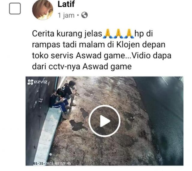Viral, Aksi Perampasan HP Terekam CCTV di Klojen Lumajang