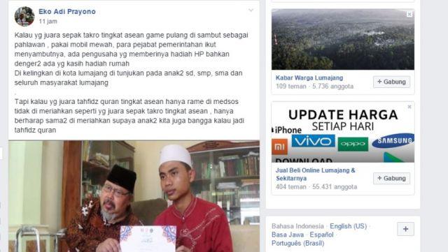 Diprotes Soal Juara Hafidz Qur'an Cak Thoriq Jawab di Grup FB Lumajangsatu
