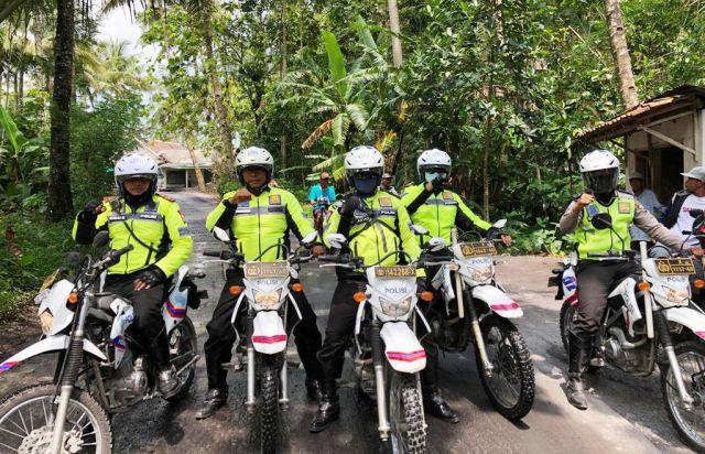 Satlantas Polres Lumajang Patroli Daerah Rawan Bencana