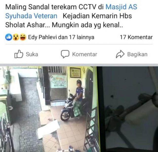 Aksi Maling Sandal Terekam CCTV Masjid As-Syuhada Veteran Lumajang