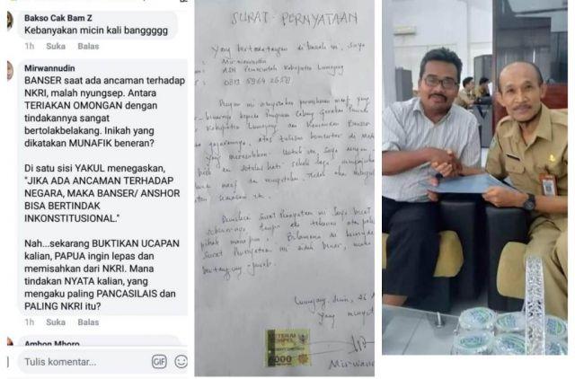 Pemilik Akun Facebook Mirwannudin Minta Ma'af ke Banser Lumajang