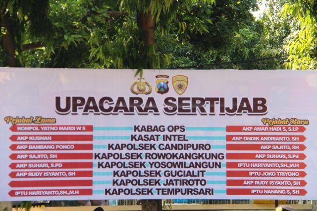 AKBP Adewira Pimpin Sertijab 7 Perwira Polres Lumajang Mutasi
