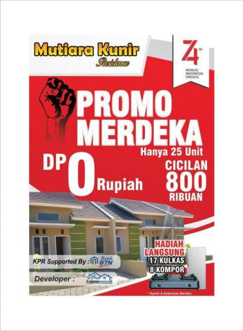 Perumahan Mutiara Kunir Residence Promo Kemerdekaan DP Nol Rupiah
