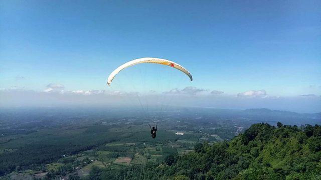 Keren...! Paralayang Kembali Terbang dari Puncak Gunung Wayang Lumajang