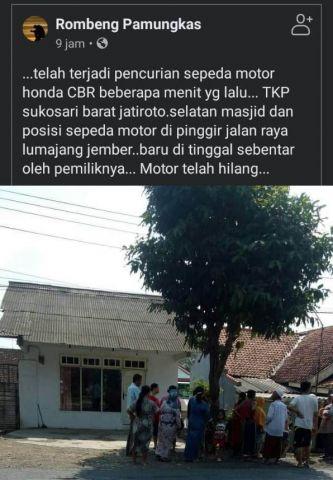 Honda CBR Milik Warga Pasuruan Dicuri di Jatiroto Lumajang