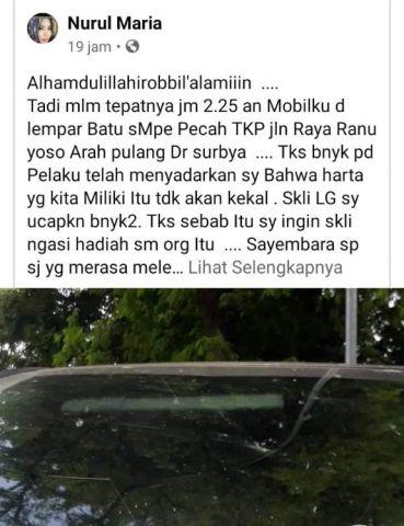 Viral Mobil Anggota DPRD Dilempar Batu di Jalan Ranuyoso Lumajang
