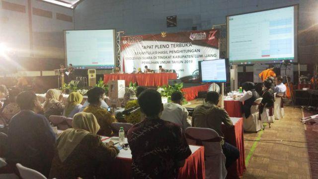 Suasana Rapat Pleno Terbuka Rekapitulasi KPU Lumajang Panas