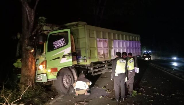 Truk Jumbo Seruduk Tiang Lampu PJU dan Pohon di Sukodono Lumajang