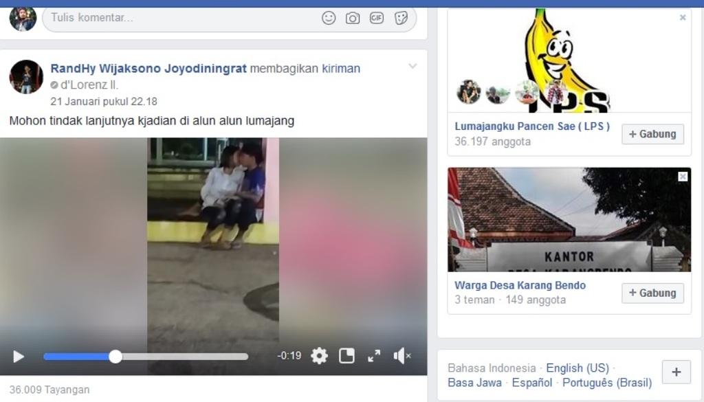 Duh..! Video Mesum di Alun-alun Lumajang Viral di Media Sosial