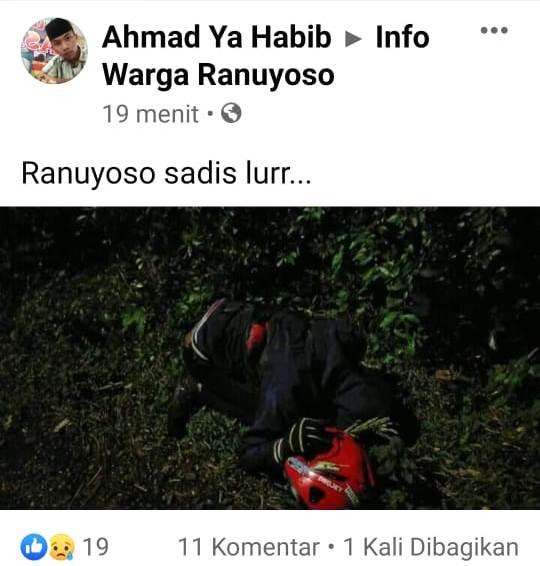 Heboh, Warga Temukan Mayat Berlumuran Darah di Jalan Ranuyoso Lumajang