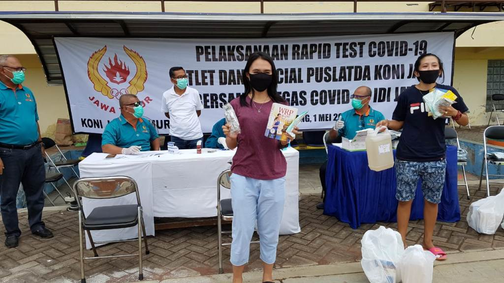 Atlet Puslatda Jatim Jalani Rapid Test Covid 19 di KONI Lumajang